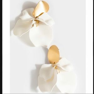 Amara flower petal drop earrings in white